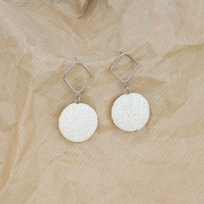 Coin White Lava Earring