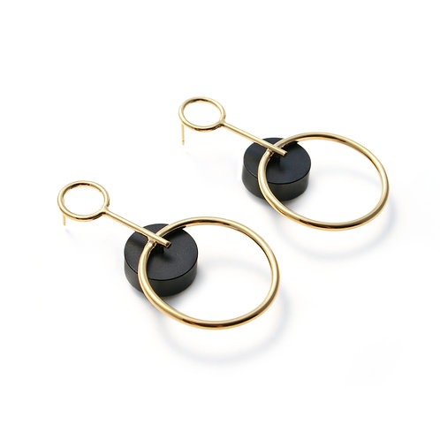 Alicia Large Earrings Gold & Black