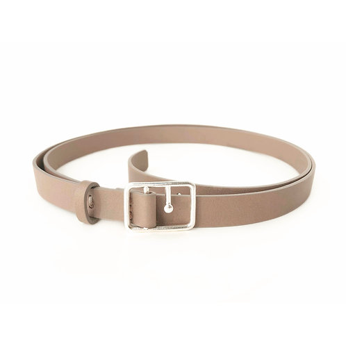 Sasha Thin Leather Belt Mink & Silver