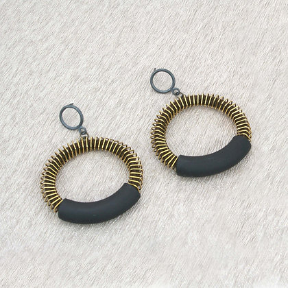 Jess Earrings Brown Gold