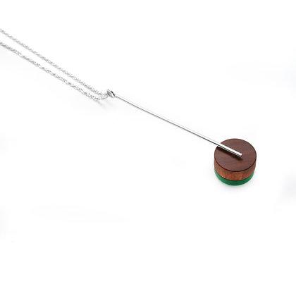 Kasia Pendant Silver, Wood & Green