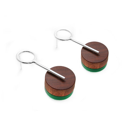 Alicia Small Earrings Silver, Wood & Green