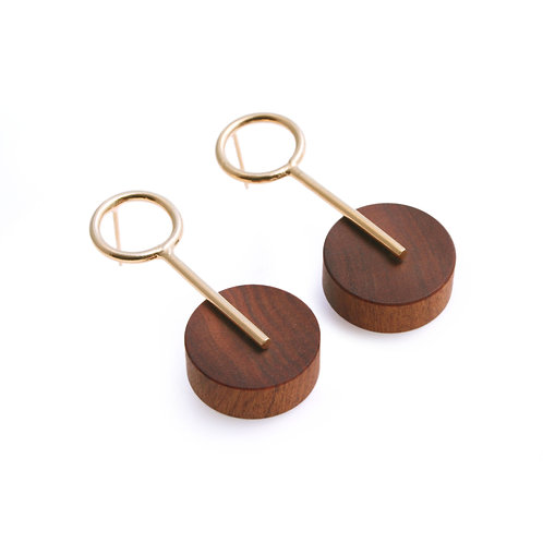 Alicia Small Earrings Gold & Wood