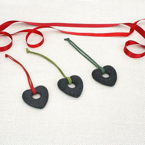 Heart Lava Ornament set Black