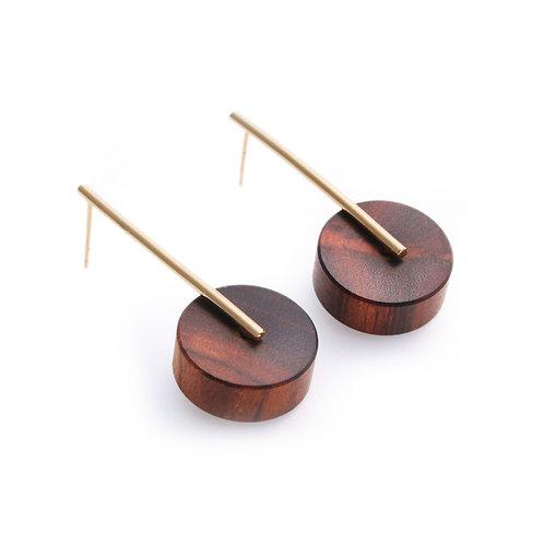Kasia Small Earrings Gold & Wood