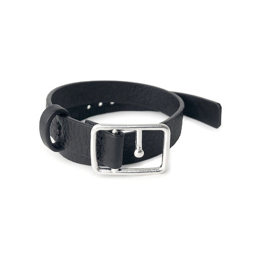 Sasha Leather Bracelet Black & Silver