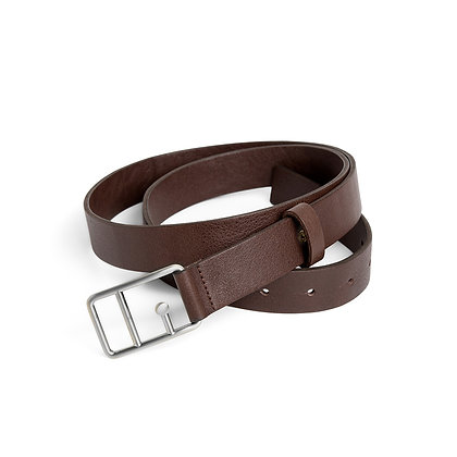 Sophie Leather Belt Brown & Silver
