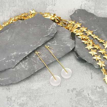 Kasia Large Earrings Gold & Frosted