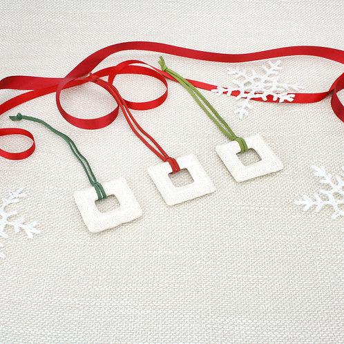 Square Lava Ornament set White