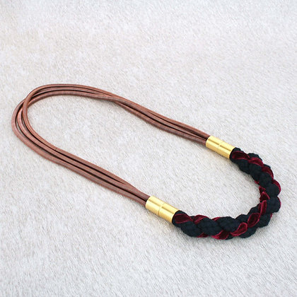 Aga Necklace Dark Blush velvet detail