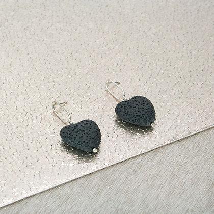 Black Lava Heart Earrings   Silver hanger