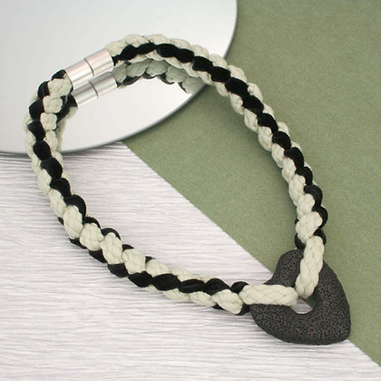 Braided Heart Necklace Ivory Black