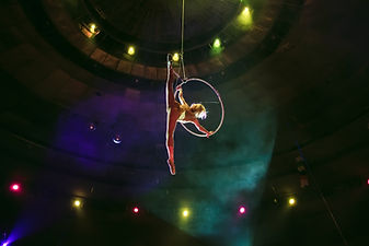 Aerial acrobat in the ring. A young girl