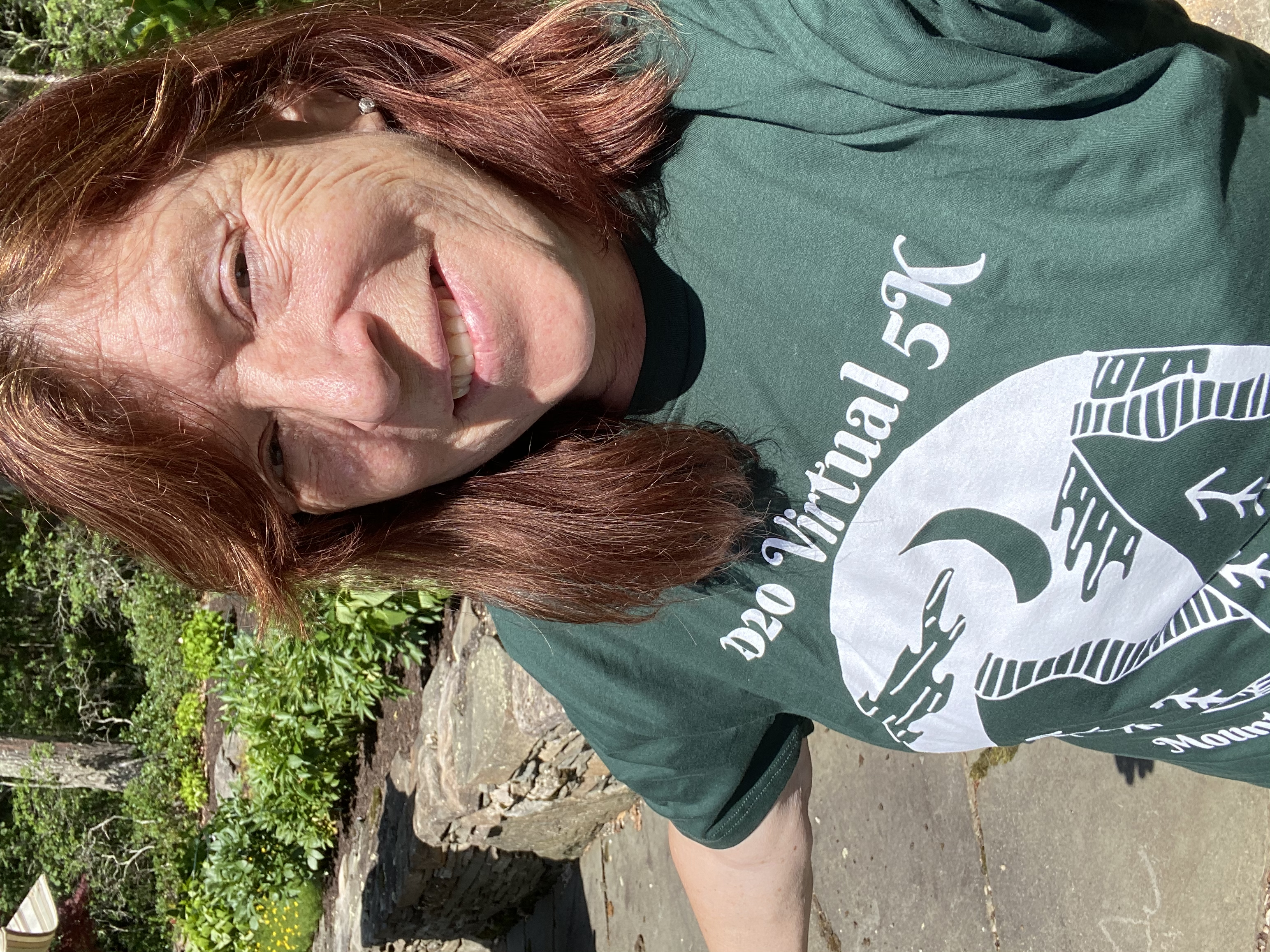 Pam showing off her limited edition T-shirt