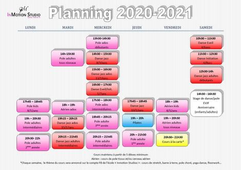 Planning de la rentrée 2020