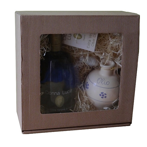 Gift box with ceramic olive oil cruet