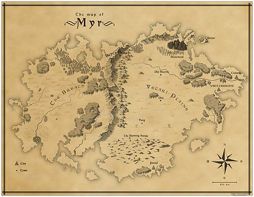 "World Map of Myr (10.98"" by 8.5"")"
