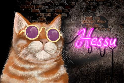 Hessu-kissa (digitaalinen piirros kuvasta)