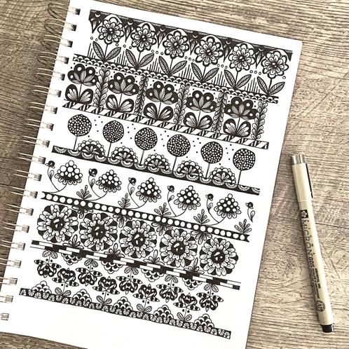Doodling (mustekynä ja paperi)