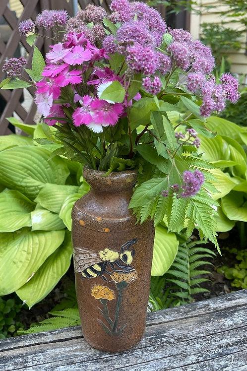 Bee and Purple Corn Flowers