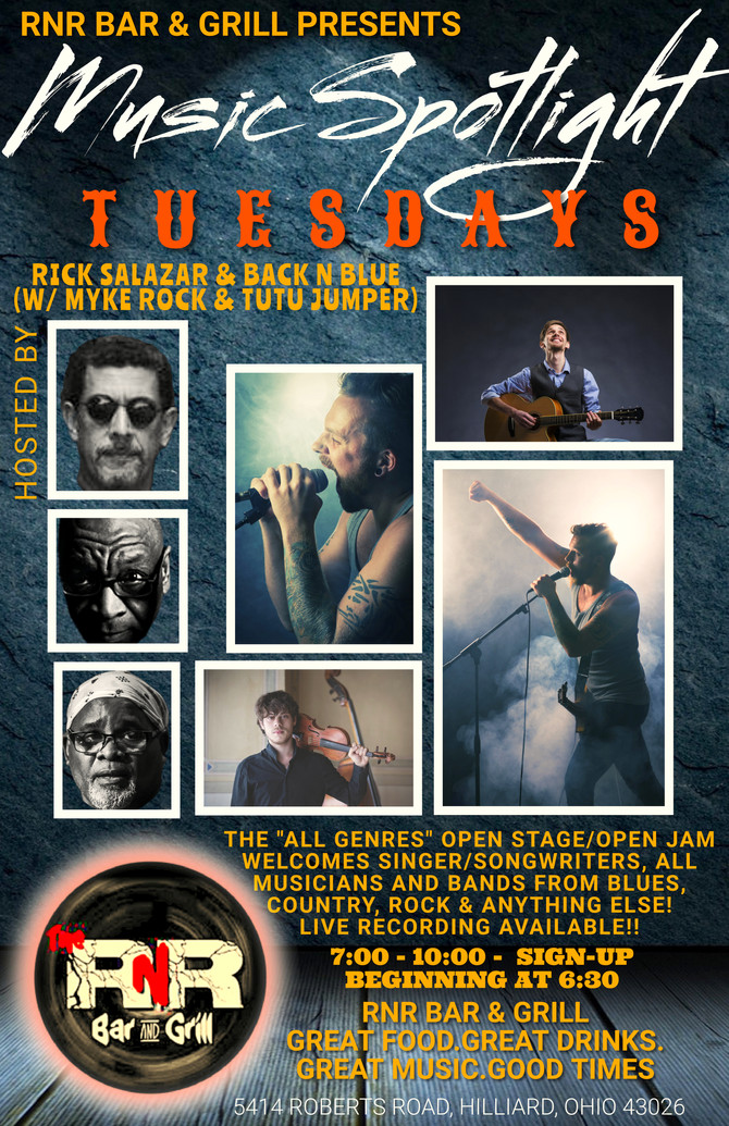 MUSIC SPOTLIGHT TUESDAYS - RNR Bar & Grill, Hilliard, welcomes All Genres from Singer/Songwriter
