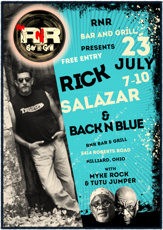 Rick Salazar & Back N Blue -with Myke Rock & Tutu Jumper- are In Concert at RNR Bar & Gr
