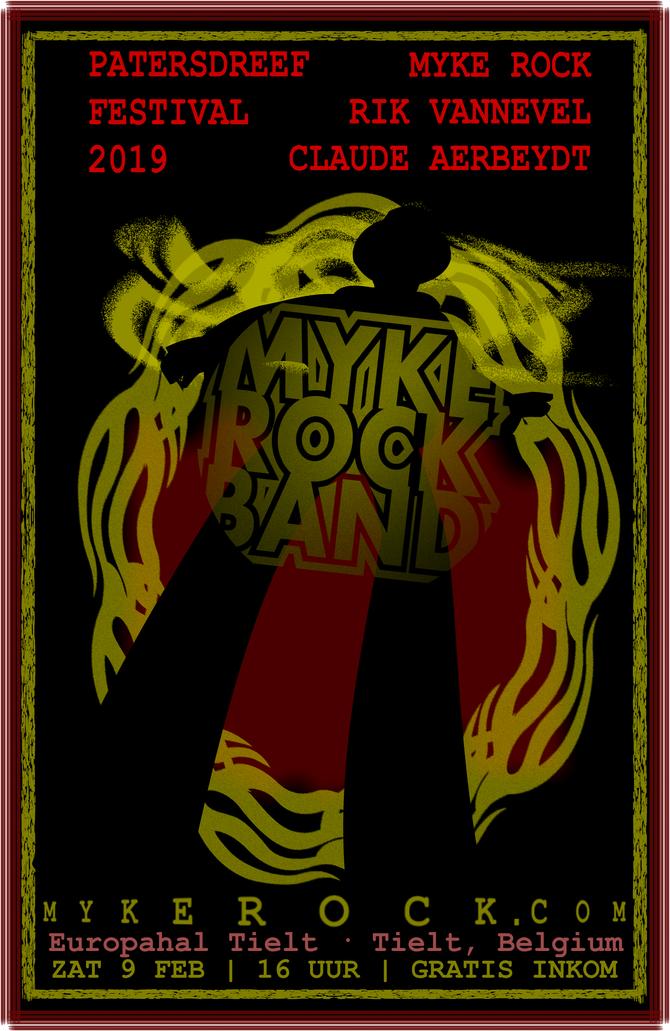 Myke Rock Band plays Patersdreef Festival 2019 in Tielt, Belgium, Zat 9 Feb!