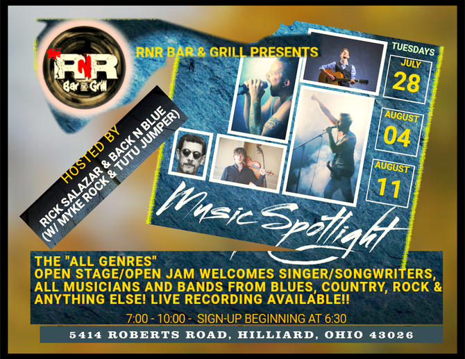 Music Spotlight at RNR Bar & Grill in Hilliard -Tuesdays- welcomes All Genres from Singer/Songwr