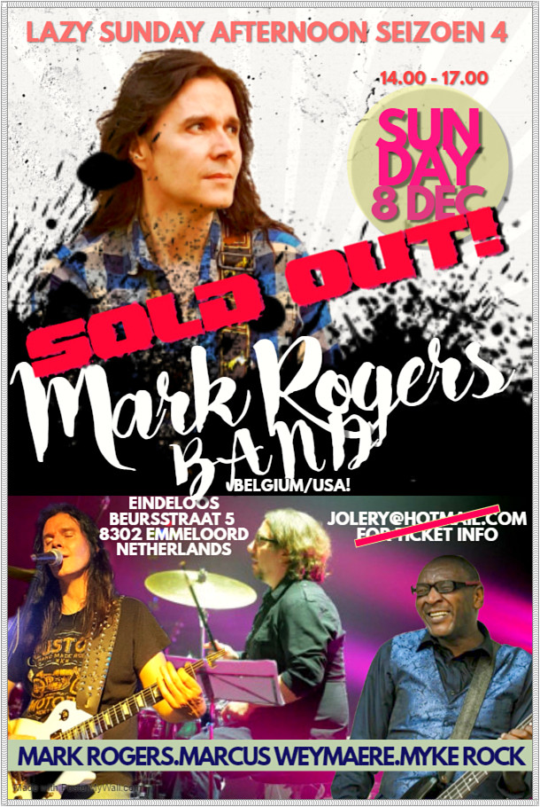 """SUN DEC 8 - SOLD OUT! Mark Rogers Band (BE & USA) - """"Lazy Sunday Afternoon"""" Concert Se"""