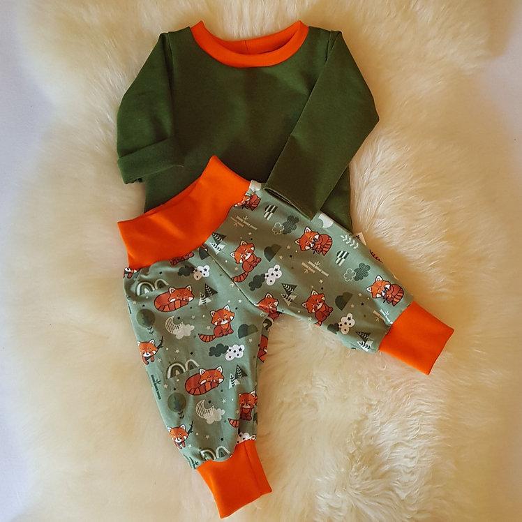 Set Pullover und Hose grün mit Füchsen