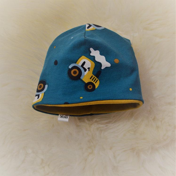 Mütze blau/gelb mit Traktor
