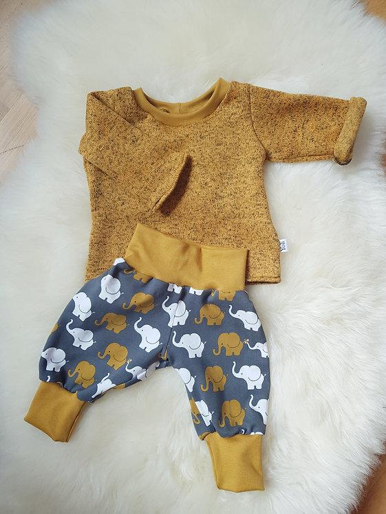 Set Pullover und Hose senfgelb mit Elefanten