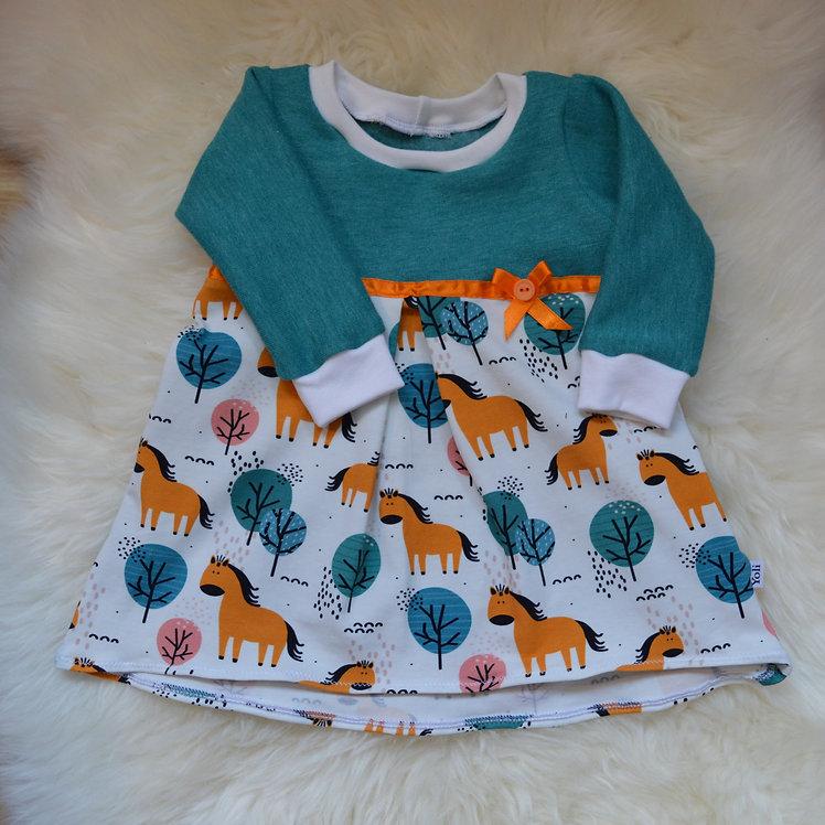 Baby-Kleid türkis/orange mit Pferden