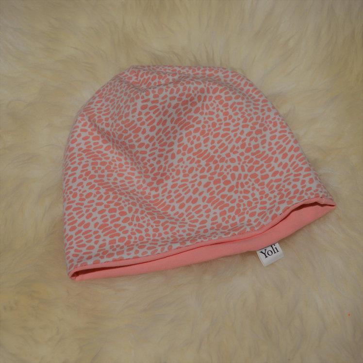 Wende-Mütze in rosa/weiß mit Tupfen