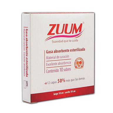 Zuum Gasa Estéril 10 * 10 cms. (caja 10 pzas.)
