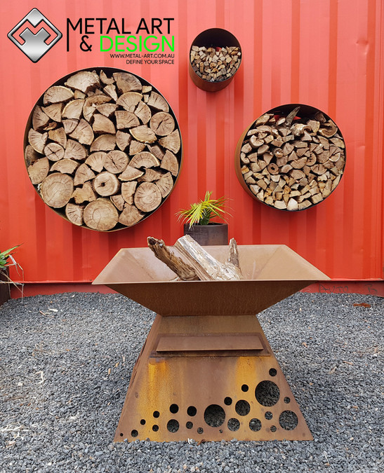 Corten wood stacker rings