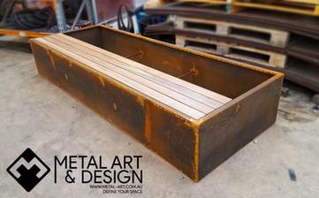 Corten planter bench seat