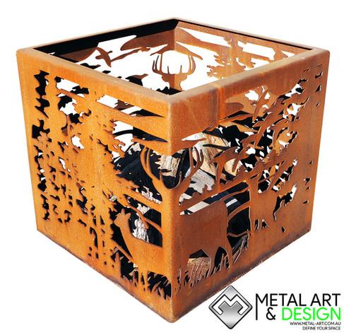 Deer cube fire pit