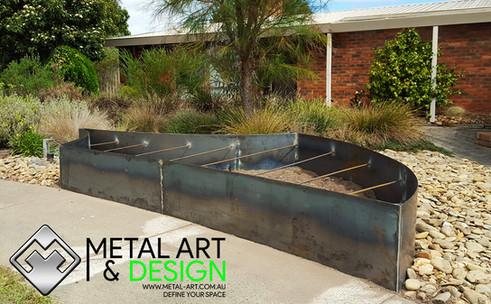 Custom corten garden bed