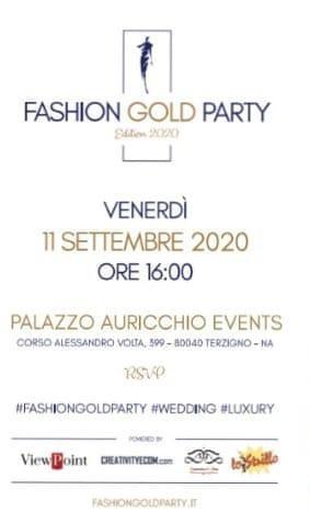 """VIII EDIZIONE """"FASHION GOLD PARTY WEDDING"""""""