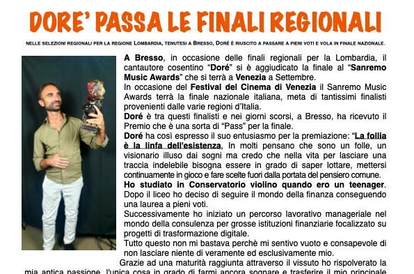 """DORE' SI CANDIDA PER LA FINALE A VENEZIA DEL """"SANREMO MUSIC AWARDS"""""""