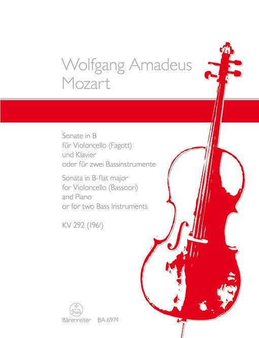 Mozart: Sonate für Violoncello und Klavier nach KV 292 (196c)