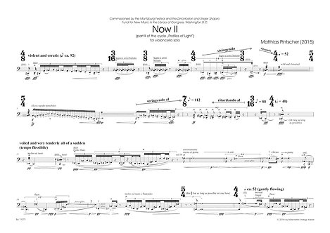 """Pintscher: Now II for violoncello solo part II of the cycle """"Profiles of Light"""""""