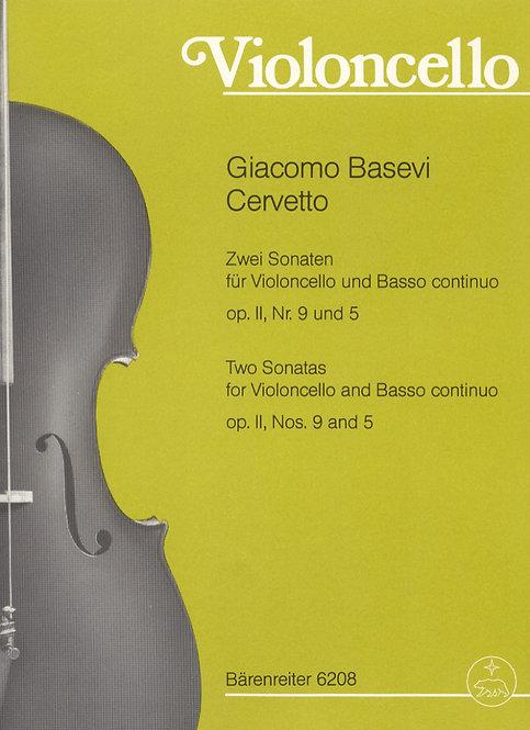 Cervetto: Zwei Sonaten op. II. Nr. 5 und 9  für Violoncello und BC