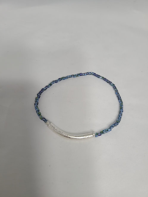 Blue Square Beaded Anklet