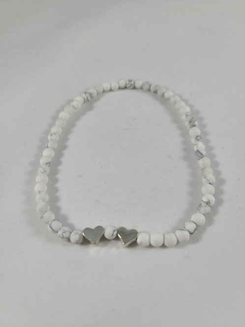 White Bead Heart Charmed Anklet
