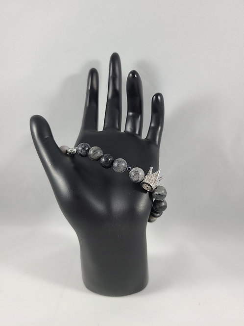 Silver Crown Black Pearl Beaded Bracelet