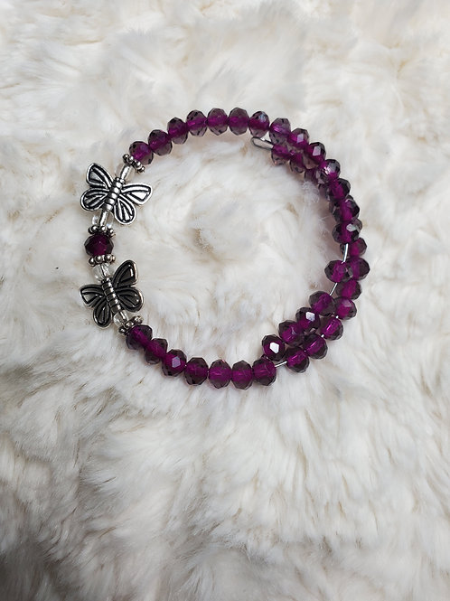 Purple Butterfly Charm Bracelet
