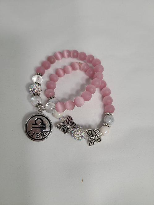 Pink Zodiac Charm Bracelet Set
