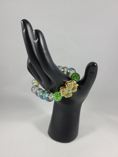 Big Lucky Green Beaded Bracelet